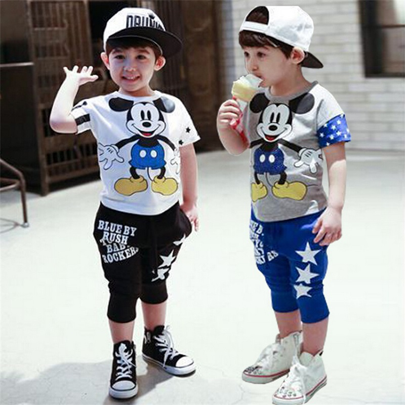 d89f98410281 Buy Fasion mickey Children Clothing set baby girls boys Clothes sets ...
